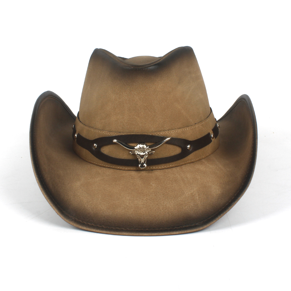 89fc4656f US $48.98  100% Leather Black Men Western Cowboy Hat For Gentleman Dad  Cowboy Sombrero Hombre Caps Godfather Hats Size 58 59CM Dropshipping-in  Cowboy ...