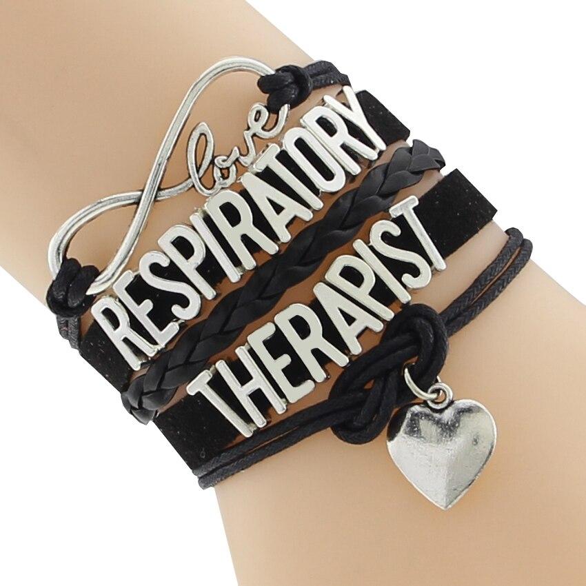 2016 новая мода бесконечность любви дыхательной браслет ручной работы кожаный браслет лучший подарок для пульмонолога