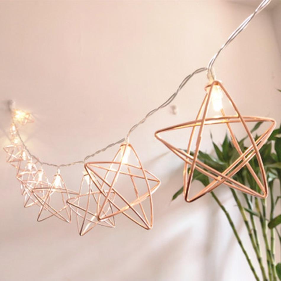 Party Decor Rose Gold finishing star shape Battery iron led String Lights, Festival Decor Lights, Decorative led lighting