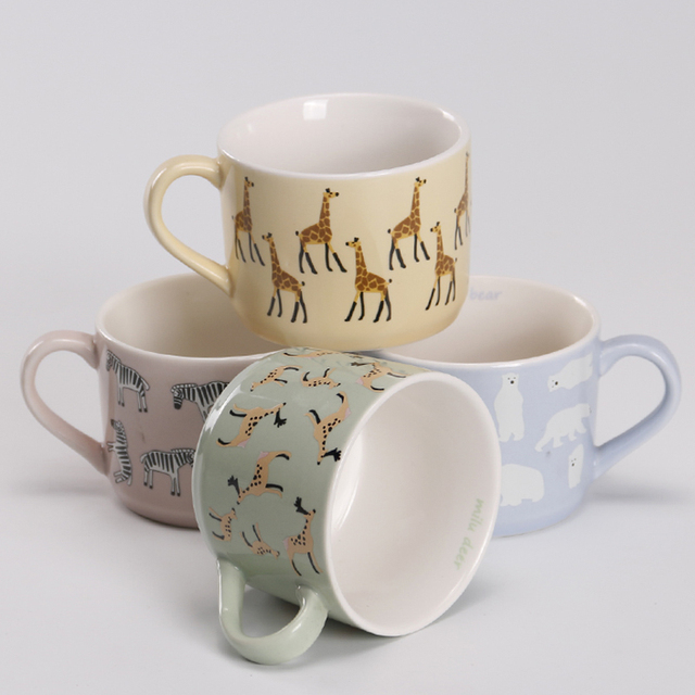 creative small ceramic milk mug with animals cute cartoon printed coffee mugs heat resistant celadon