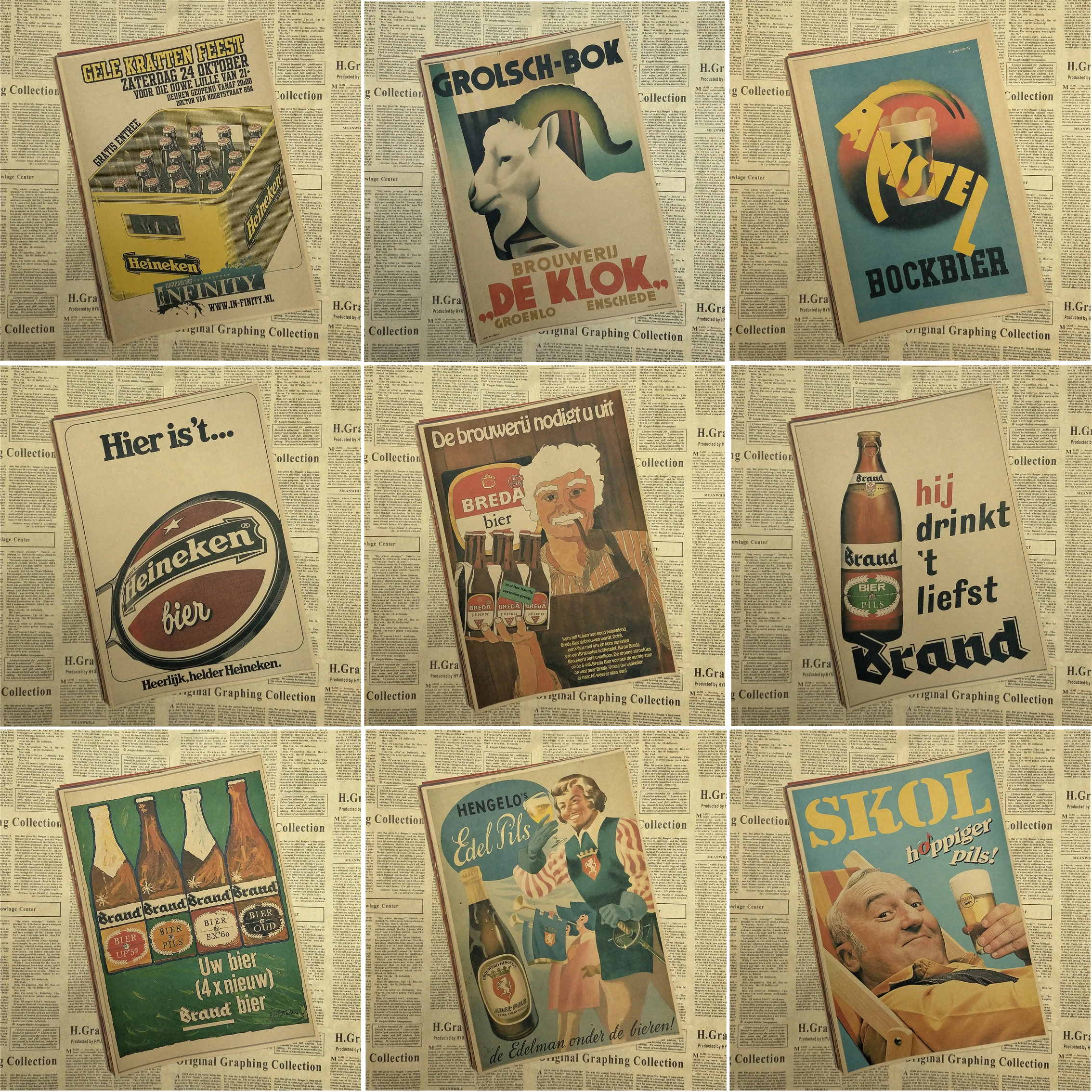 Retro BEER Cheers Vintage Paint Kraft Paper Poster Bar Cafe Living ...