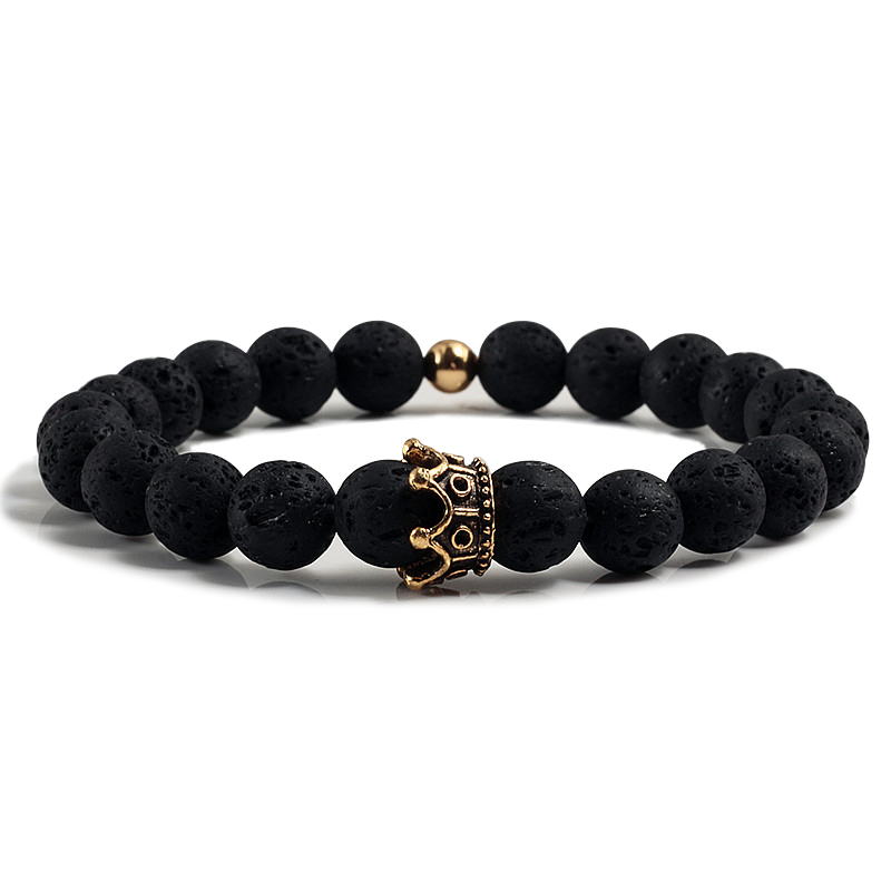 Men Charm Bracelet Black Lava Onyx Matte Alloy Crown Beads Couple Bracelets 1
