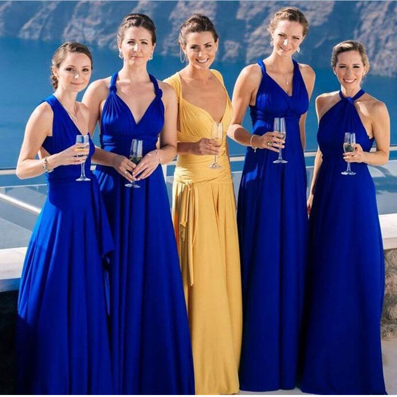 New Light Blue Covertible   Bridesmaid     Dresses   2019 Pleated Floor length Country Beach Wedding Party Gowns Cheap Long Prom   Dress