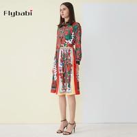custon plus size high quality Dress A Line dress Flower print Wrist sleeveTurn down Collar Knee Length Autumn summer new dress