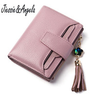 New Genuine Leather Wallet Luxury Brand Womens Small Wallets Female Solid Hasp Id Card Holder Pocket