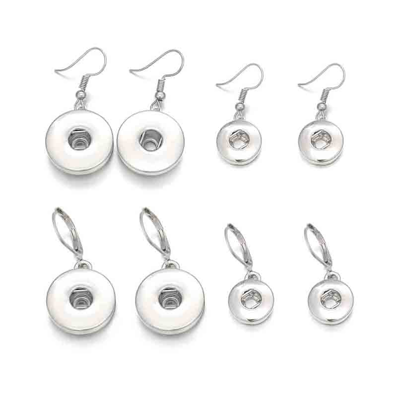 Wholesale Fashion Interchangeable Crystal 032 Earring Fit 12mm 18mm Snap Button Earring For Women Gfit Charm Jewelry image