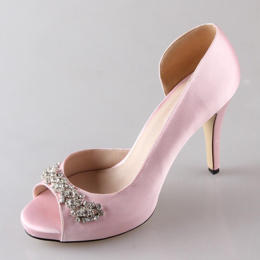 Douce Main Mariage Pompes Sur Le D'orsay Partie Bout Avec Bridalmaids Rose Strass Talons Diamants Bal Chaussures De Mariée 4FfxFgdq