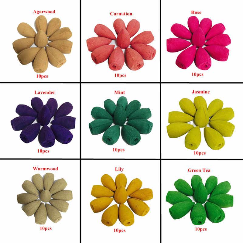 100 adet/grup Karışık Doğal Tütsü Gül Yasemin Lavanta Osmanthus Sakura Duman Koni Reflü Kule Tütsü Geri Akış Tütsü Bullet
