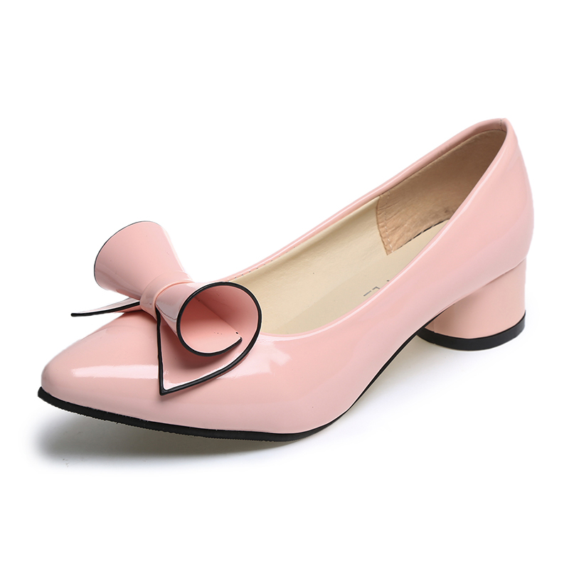 MIUBU Spring Womens Low Heel Leather Pointed Toe Shoes Woman High Red Bow Slip On Dress Shoes Zapatos Mujer Ladies Boat Shoes in Women 39 s Pumps from Shoes
