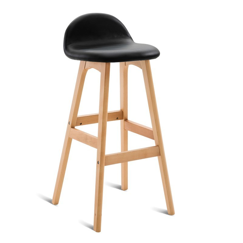 A2 American Bar Chair Long Foot Bar Stool Nordic High Stool Backrest Cafe Creative Solid Wood Bar Stool Modern Minimalist