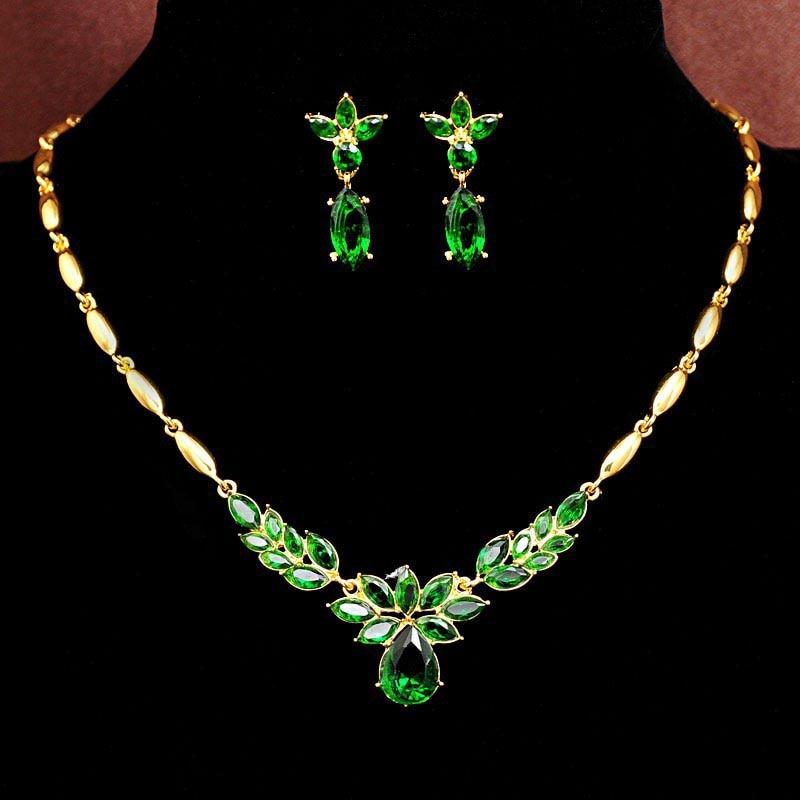 Ženska nova zelena cirkonska ogrlica z okrasnim nožem + uhani Cvetlični kompleti za poročne nakite Brezplačna dostava Nakit za ženske