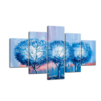 Canvas Prints Pictures Wall Art Framework 5 Pieces Blue Trees Abstract Paintings For Living Room Landscape Poster Home Decor