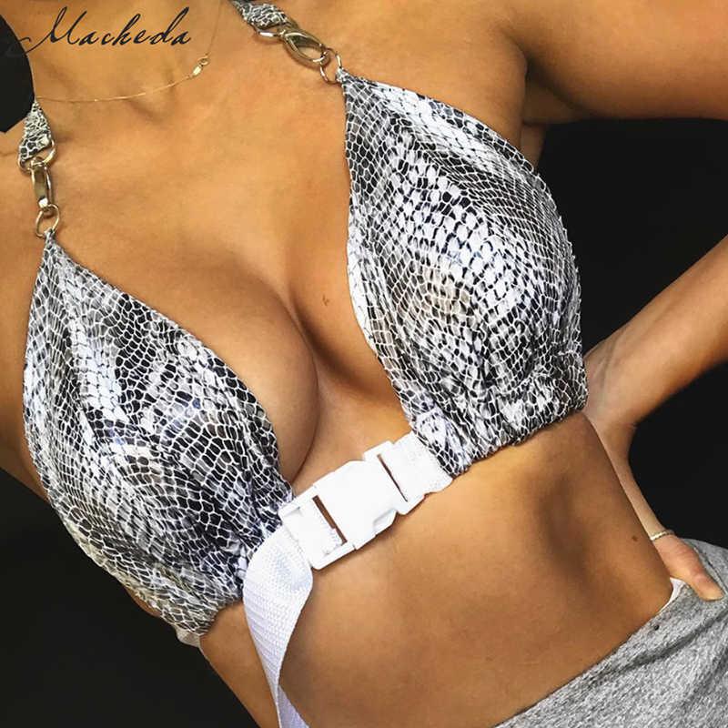 Macheda Женский укороченный летний топ бра на крючках и заклепке модный бюстгальтер на длинной бретели с открытой спиной