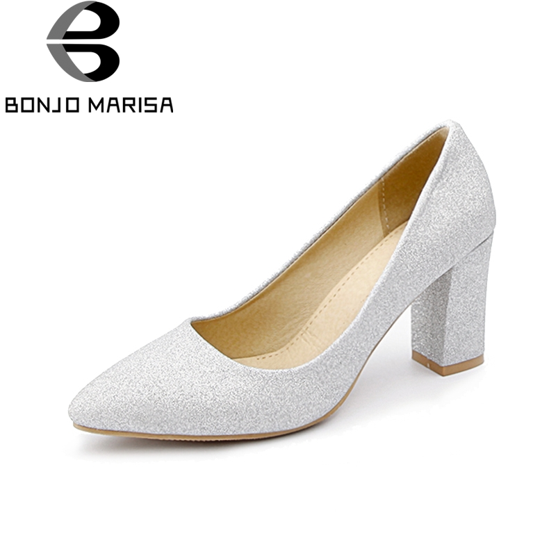 BONJOMARISA Womens Glitter Cloth Upper High Heel Party Wedding Shoes Woman Pointed Toe Less Pumps Big Size 31-48