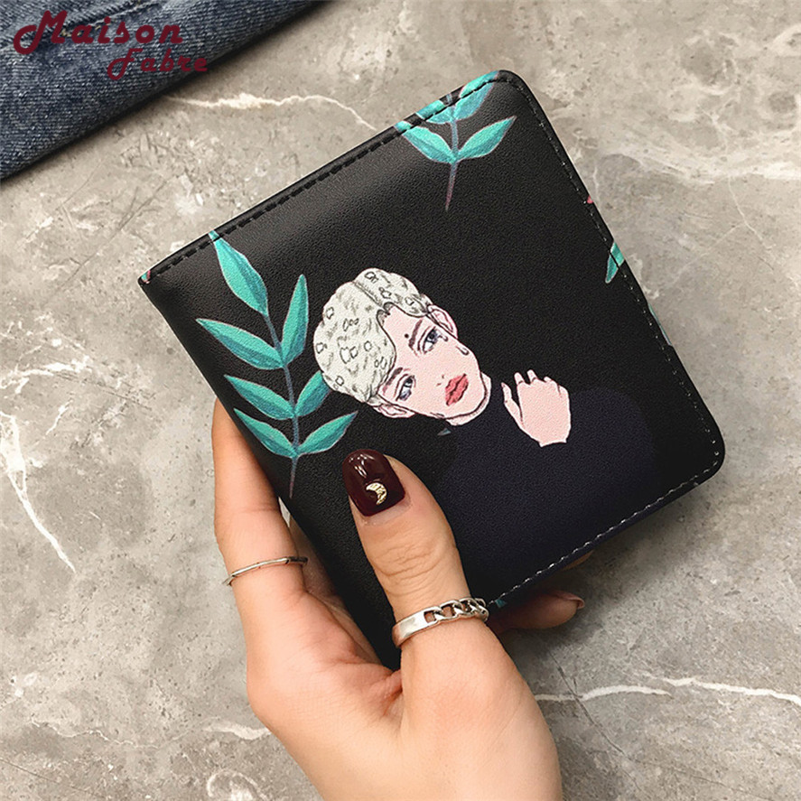 New wallet female small 1PC MINI Women Fashion Cartoon character Short Wallet Coin Purse Card Holders Handbag Korean wallets dog women wallets and purses for girls kawaii children small short coin purse card holder female mini cartoon character animal