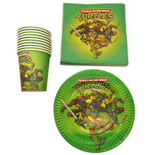 Ninja Turtles Theme Food Grade Paper Napkins Baby Shower Events Party Decoration Kids Favors Plates Happy Birthday Cups 60PCS