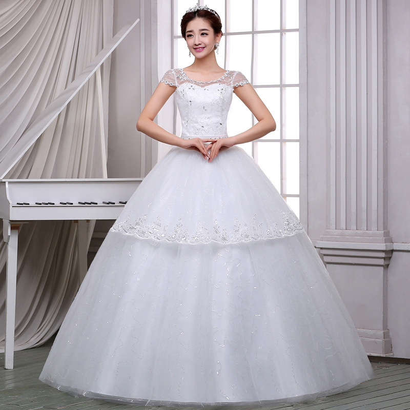 Elegant White Wedding Dresses Ball Gown O-Neck Short Sleeve Lace Up Crystal Appliques Formal Bride Dresses Vestidos De Festa