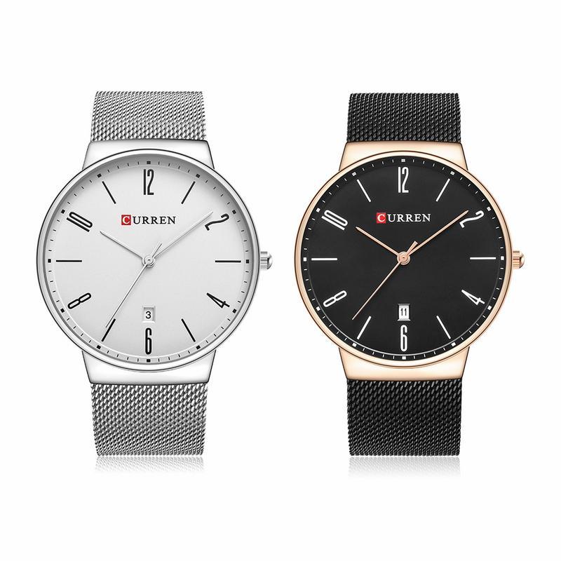 CURREN 8257 Men's Watch High-grade 2018 Fashion Brand Men Stainless Steel Quartz Watch Ultra Thin Dial Clock