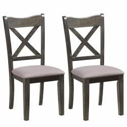 Giantex набор из 2 твердых деревянных обеденный стул со спинкой X-Back Лен Upolstered сиденье домашняя кухня мебель для дома HW58976