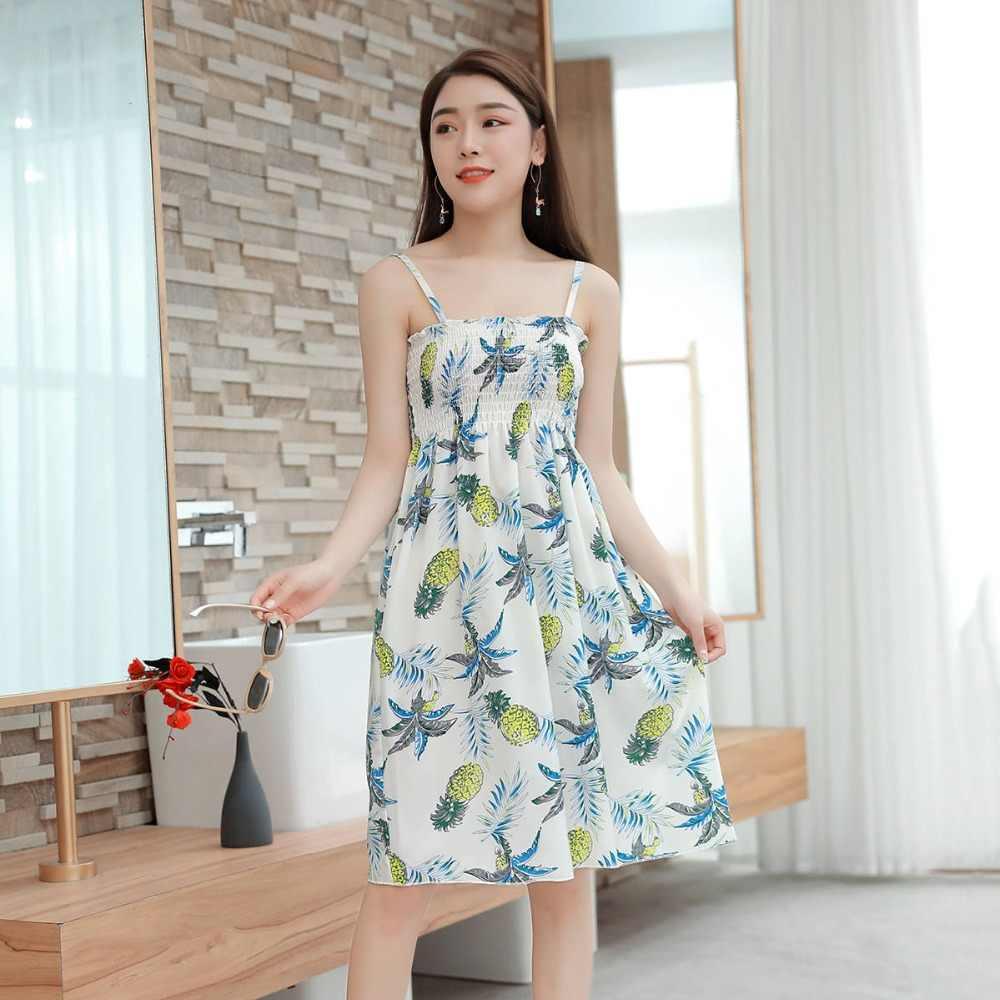 db65f04b82c65 Casual Summer Flower Dress Women Summer Female Cute Elegant Dresses  Sleeveless Kawaii Parity Girl Dress Vestidos Beach Dress