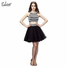 Nueva Moda de Dos Piezas de Cóctel 2017 Vestidos de Una Línea de Cuentas con lentejuelas y Espalda Abierta Negro Corto Vestido de Las Mujeres Del Partido de Coctel Formal vestido
