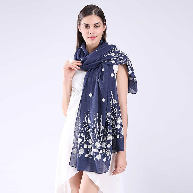 新しい日本スタイルの長いスカーフとショール用女性花刺繍ラップシンプルデザイン森女の子スカーフ&ラップ