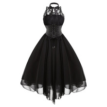 Gamiss 2017 Gothic Bow Party Dress Women Vintage Black Sleeveless Cross Back Lace Panel Corset Swing Dress Robe Vestidos Femme