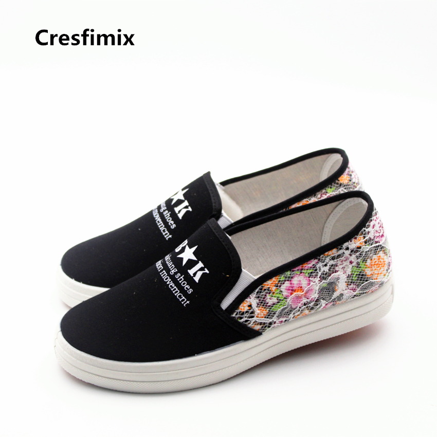 Cresfimix sapatos femininas women casual high quality canvas flat shoea lady cute floral printed flats female comfortable shoes cresfimix sapatos femininas women casual soft pu leather flat shoes with side zipper lady cute spring