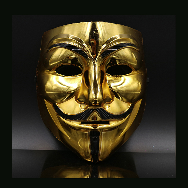 Image 2 - Hot Sale White/Gold/Silver/Yellow V for Vendetta Guy Fawkes Mask Anonymous Halloween Cosplay Costumes Party Supplies Scary prop-in Party Masks from Home & Garden