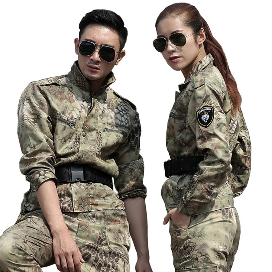 Mens Hunting Clothes Yellow Python Camouflage Suit Army Military Tactical Jackets+Pants Uniforms Multicam Combat Ghillie Suits