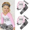 3 PCS Autumn Fashion Kids long sleeve letters Floral sets  Baby Girls Clothes Tops +Pants Leggings Headband 3PCS Outfits Set