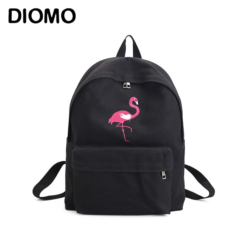 DIOMO Embroidery Flamingo Backpack for Girls School Bags Large Capacity Women Backpack Canvas Travel Bag