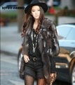 Free shipping Silver Fox fur Coat Women Long Natural Fox Fur Coat Winter Thick Real Fur Jacket Custom plus size 599