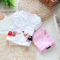 Free shipping Retail new 2015 summer baby t-shirt girls tops kids short sleeve t-shirts for children shirt 100% cotton pullover