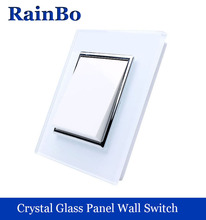 rainbo brand Push Button Switch Manufacturer of Wall Light Switch White Crystal Glass Panel AC 110-250V 1Gang1Way A1711W/B