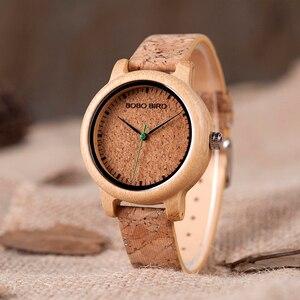 Image 3 - ボボ鳥愛好家竹クォーツカップルの腕時計2020トップブランドファッションコルクストラップ腕時計時計レロジオfemininoドロップシップ