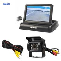 SMALUCK Wired 4.3 Foldable Rear View Monitor Car Monitor Waterproof CCD Reverse Backup IR Night Vision Bus Truck Camera