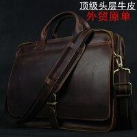 Couro genuíno de luxo dos homens pasta do portátil bolsa de couro carteira de negócios masculino pasta documento saco de escritório|leather laptop bag|portfolio men|leather briefcases men -