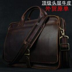Luksusowa skórzana teczka męska teczka na laptopa skórzana teczka portfolio męska torba biznesowa męska teczka na dokumenty torba biurowa w Teczki od Bagaże i torby na