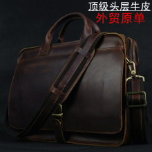 High class Leather briefcases men's bags men messenger bag genuine leather shoulder bag business laptop briefcase free shipping hot sale large handcrafted double zip leather briefcase retro men s versatile briefcases bag laptop case free dhl shipping