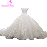 High end Vintage Lace Princess Style Ball Wedding Dress 2018 Beading Tassel Fashion Sexy Off Shoulder Silver Lace Bridal Gown