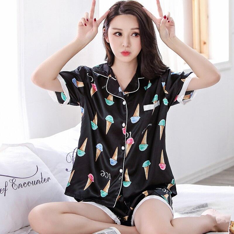 Summer Short Sleeved Silk   Pajamas     Sets   Women Pyjamas Ice Cream Printed Sleepwear Female Casual Tracksuit Plus Size Pijamas Mujer