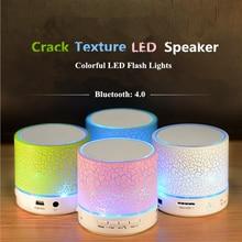 Grieta Textura de Colores LED Mini Altavoz Bluetooth Apoyo LINE-IN/Unidad Flash USB/Tf/Mic/llamadas/Música/Radio FM