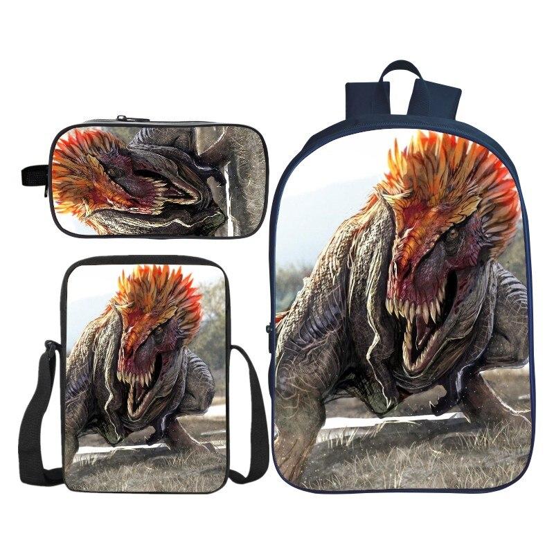 3Pcs/Set Printing 3D Animal Jurassic Park Dinosaur Kids Baby School Bags for Boys Bookbag Children Shoulder Backpack Student Bag