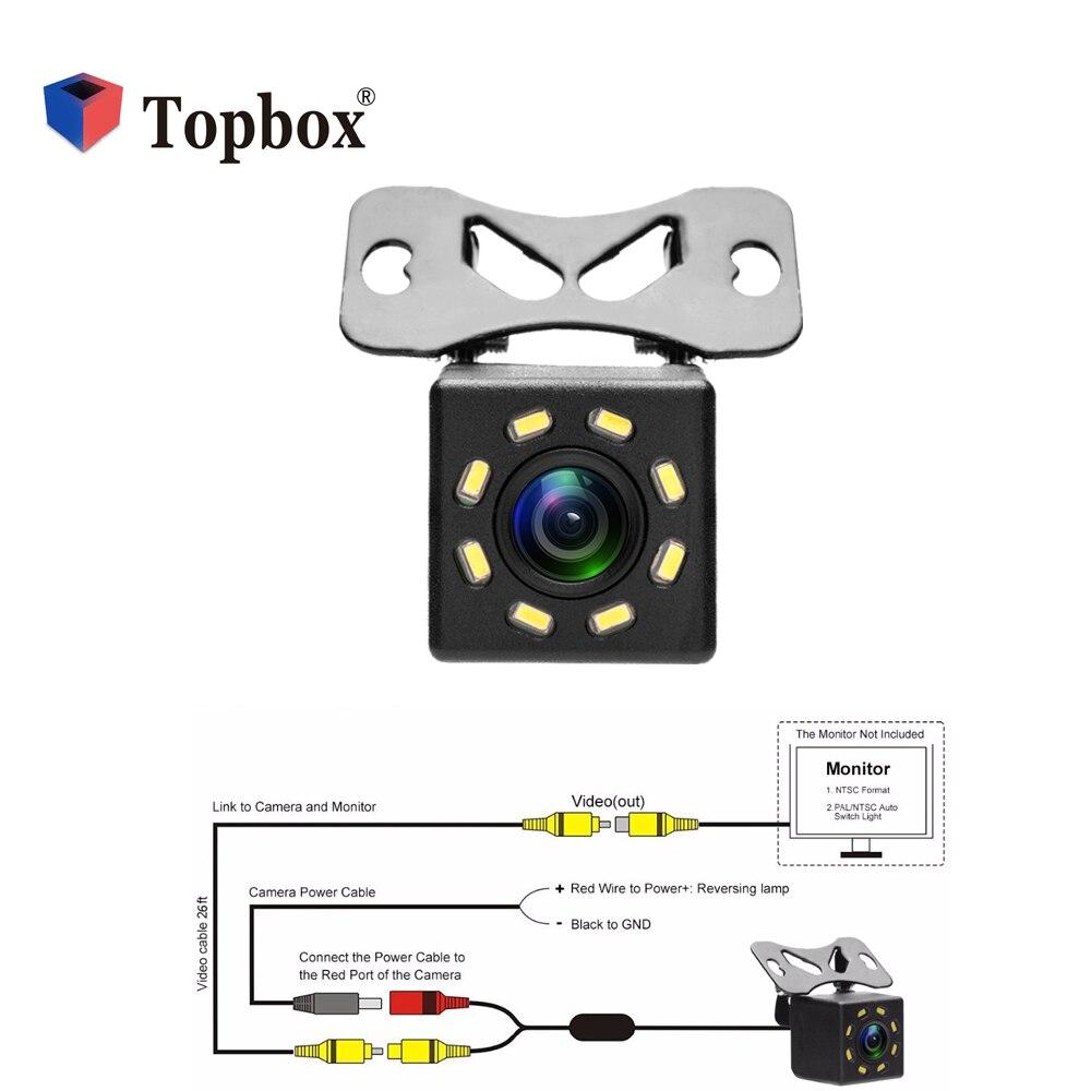 Bauletto Universale Auto Videocamera vista posteriore HD Ampio Angolo di Immagine a Colori Impermeabile 8 LED di Visione notturna di Backup Retromarcia Telecamera di Parcheggio