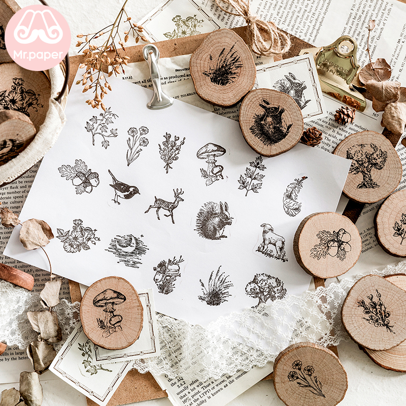 Mr Paper 16 Designs Forest Animals Plants Growth Ring Wooden Rubber Stamps For Scrapbooking Decoration DIY Craft Wooden Stamps