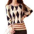 Geometric  Women Sweaters And Pullovers Long Sleeve Plus Size Sweater  Knitted Long Sleeve Pullover Oversize Vintage MY081