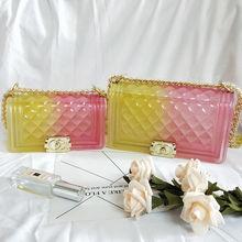 цена на New Luxury Brand Gradient Shoulder Bag Color Jelly  Plaid Transparent Bag Purse Beach Handbag
