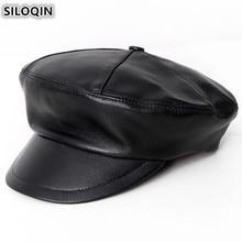 SILOQIN Elegant Army Military Hats For Men Women Genuine Leather Hat New Fashion Flat Cap Sheepskin British Couple Caps