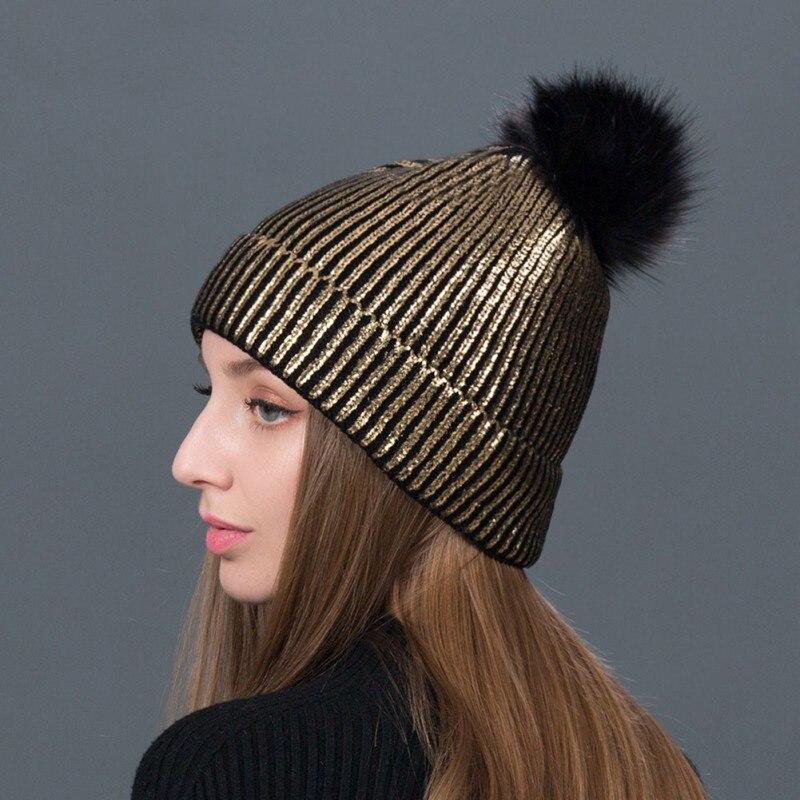 Women Warm Winter Knit Beanies Caps Casual Fur Pom Hats Gilding Striped Fashion Caps